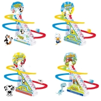 climb stairs train track toy for boys girls Children's classic cartoon electronic music toys kids funny new year Birthday gift