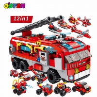 561PCS 12 IN 1 Fire Truck Toys LegoINGlys Building Blocks Compatible With City Bricks Fire Fighting Car Toys For Children