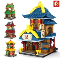 SEMBO Chinese Street Building Blocks for Kids Juguetes Wine Shop Creator City Store Architecture Compatible Bricks Girl Boy Toys
