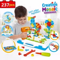 Electric Drill Screwing Building Block 3D Creative Mosaic Puzzle ToysAssembly Tools Sets Educational Toy Christmas Gift For Kids