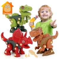 Kids Drill Toy DIY 3D Dinosaur Puzzle Toy Plastic Assembled Blocks Game Electric Screw Nut Animal Set Educational Toys For Child