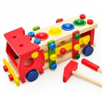 Wooden children's educational toy boy knocking ball screw nut disassembly assembly set building block toy pretend play house toy