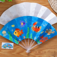 21cm Painting Summer Fan DIY Toys For Children Cartoon Animal Color Graffiti Origami Fan Art Craft Toy Creative Drawing Kids