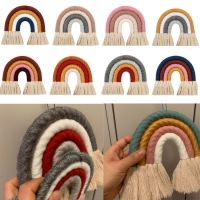 INS Nordic Home Weaving Rainbow Tapestry Cotton Hand-Woven Color Ornaments Children'S Room Decoration Tassel Wall Hanging