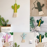 Cactus Tapestry Macrame Wall Hanging Toy Nordic Room Decoration  Handmade Weaving Plants Ornament Boho Baby Kids Room Wall Decor