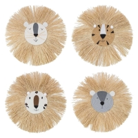 Cartoon Lion Hanging Decorations Cotton Thread Weaving Animal Head Wall Ornament
