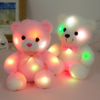 22cm Colorful Led Light Pillow Cushion Cute teddy bear plush toys Stuffed Plush Doll Toy creative gifts for Valentine Day