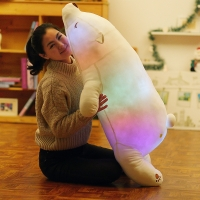 1 pcs 45-110cm Luminous Plush Polar Bear Toys Colorful Glowing Animal Toys for Girl Kawaii LED Light Toy Soft Pillow for Baby