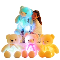 LED Colorful Glowing Teddy Bear Stuffed Animal Plush Toys Luminous Creative Light Up Plush Doll Kids Toys Birthday Gift 20-50cm