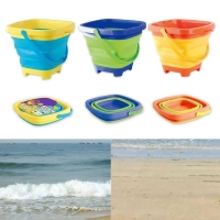 1 Pc Portable Children Beach Bucket Sand Toy Foldable Collapsible Plastic Pail Multi Purpose Summer Party Playing Storage
