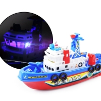 Fast Speed Music Light Electric Marine Rescue Fire Fighting Boat Toy for Kids Oct20-B