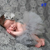Pretty Pink Princess Newborn Tutus Baby Tutu Skirt with Vintage Headband Newborn Photography Prop Birthday Gift TS019