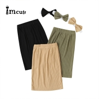 Imcute 2020 Hip Pleated Skirt Smooth Long Skirt Winter Casual Loose Kids High Waist Elastic Children Girls Skirts Sent Headband