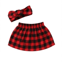 Pudcoco Christmas baby girls skirts Newborn Baby Girls Red Black Plaid Skirt+headband princess baby girls clothes xmas costume