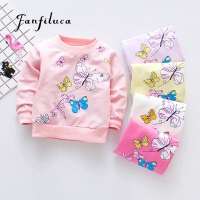 Fanfiluca Cute Butterfly Girls T-Shirts Cotton Tees Baby Girls Long Sleeve T-Shirt Sport Shirts Baby Clothes Spring Style