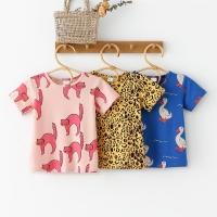 Baby T-shirt Kids Short Sleeve Shirt Girls Top Animal Fruit Pattern Boy Clothing Cotton One Piece Girls T-shirt Baby Girl Tshirt