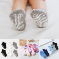 6 Pairs/lot 0 to 5 Years Anti-slip Non Skid Ankle Socks With Grips For Baby Toddler Kids Boys Girls All Seasons Cotton Socks