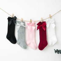 2020 Spring Summer Kids Girls Socks with Bow Knee High Hollow Out Long Socks Cotton Princess Children Socks