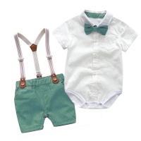 Baby Boy Clothes Summer Gentleman Birthday Suits Newborn Party Dress Soft Cotton Solid Rmper + Belt Pants Infant Toddler Set