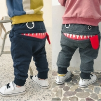 Casual Baby Children Pants Toddler Boys Cute Big Mouth Monster Trousers Costumes Long Cototn Infant Cartoon Pants