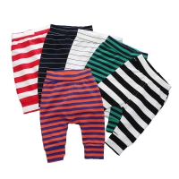 Elastic Waist Baby Pants Cotton Baby Boy Clothes Striped Loose Newborn Girl Pants Summer Infant Girls Leggings 6-24 Months