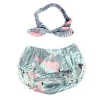 Baby Shorts & Headband Set Flamingo Print Cotton Bloomers For Girls Boys Shorts Children Short 4 Colors Newborn Clothes