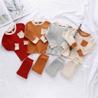 1-4Y Autumn Toddler Baby Boys Girls Suits Cotton Knitted Newborn Kids Long Sleeve Pocket T-shirts Tops+Pants Leggings Tracksuits