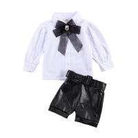 1-6Y Fashion Children Girls Clothing Sets Toddler Kids Girls Lace Bowtie Blouse Shirts Tops+PU Leather Shorts Tracksuits Outfits