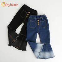 Babyinstar Baby Girls Denim Pants Casual Kids Autumn Trousers Girls Bell-bottomed Pants Children Pants For Girls 2020