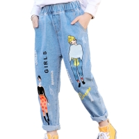 2020 Fashion Cartoon Jeans for Girls Teenage Children Jeans Elastic Waist Denim Pants Kids Trousers for Girls Kids Clothes 4-13T
