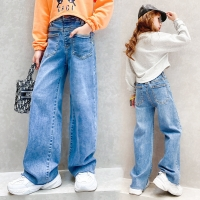 Teenage Girls Jeans 2020 Spring Summer Fall Casual Fashion Loose Blue Kids Leg Wide Pants School Children Trousers 6 8 10 12Year