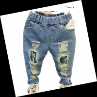 hot sale  new fashion baby boy hole jeans trousers kids jeans cotton denim long trousers for children
