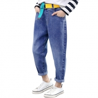 Jeans Girl Belt  Jeans For Girls Spring Autumn Kid Jeans Casual Style Children's Clothing 6 8 10 12 14