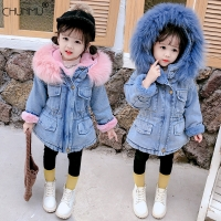 Girls Clothing Baby Coats for Girls Fur Collar Jackets For Winter Autumn Kids Clothes Plus Velvet Thick Denim Children Outerwear