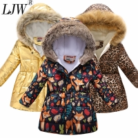 2020 new thickened multicolor winter girl jacket fashion printed hooded jacket children wear plus velvet warm girl jacket Christ