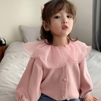 Girls Cardigan Jackets 2020 Fall Winter New Baby Cute Sweet Girls Clothing  Kids Children Top Lace Lapel Jacket For Girls Autumn
