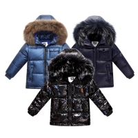 Fashion winter coat down jacket for boys clothes 2-8 y children's clothing thicken outerwear & coats with nature fur parka kids