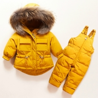 Winter Children Clothing Set Baby Boy Girl Clothes Warm Down Jacket Coat Jumpsuit Snowsuit Kids Parka Real Fur Overalls Overcoat