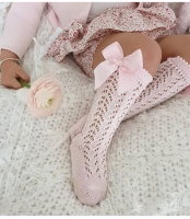 Children Girls Royal Style Bow Knee High Fishnet Socks.Baby Toddler Bowknot In Tube Socks.Kid Hollow Out Sock Sox 0-4Y