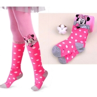 Disney Mickey Mouse Pattern Tights For Girls Cute Pink Cotton Knitted Pantyhose Stockings For Babys Infant Tights For 2-10Y New