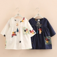 2021 Spring Autumn New Arrival 2-12T Children Kids Clothing Blue White Color Long Tops Baby Girls Tassels Loose Blouses Shirt