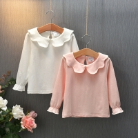1-7Y Toddler Kid Girls Solid Tops Ruffles Long Sleeve Blouses Autumn Spring Girls Clothes Gray White