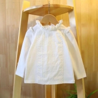 Kids White Shirts For Baby Girl Long Sleeve Ruffle Doll Collar Girls Blouses Autumn Children School Clothes Toddler Cute Tops