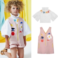Raspberry Plum Kids Girls Stylish Pink Overalls and Blouse Matching Toddler Summer Spring Fashion Clothes Kid Brand Overalls
