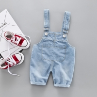 Baby Girl Clothes Cute Sweet Blue Jumpsuits Fashion Simple Solid Color Boys Washed Jeans Summer Casual Denim Romper Strap Shorts