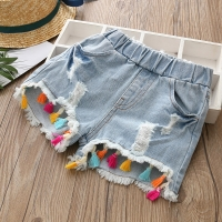2021 Hot Summer Fashion Beauty Cute 2 3 4 6 8 10 12 Years Children Short Jeans Pants Baby Kids Girls Denim Tassel Hole Shorts