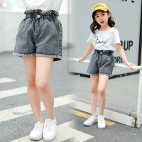Teenage Girls High Waist Jeans Shorts Pure Blue Denim Kids for Girls Shorts Summer Loose Hot Pants Fashion Toddler Clothes New