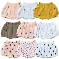 9 Colors Summer New Baby Fashion Casual Large PP Shorts Infant Solid Color Cotton Linen Print Bloomers Toddler Girls Bread Pants