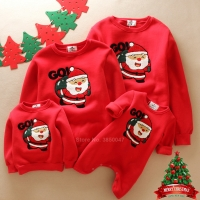 Winter Fur Christmas Sweater Family Matching Clothes Xmas New Year Santa Claus Elf Elk Embroidery Children Hoodies Sweatshirts