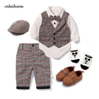 Toddler Boys Clothing Set 2020 Spring Baby cotton plaid Children Kid Clothes Suits 5pcs birthday Party Costume 1 2 3 Year Gift